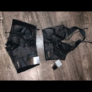 Rare 90's playboy leather lace up set